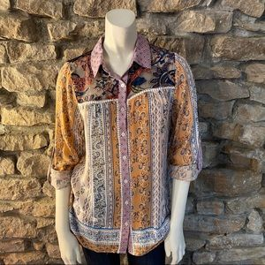 Oddy Patchwork Button Up Top Size S